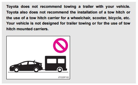 From a Toyota Prius Owners Manual regarding Hitch Mounted Bike Racks.
